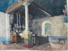 Chapelle Notre-Dame de Penvern - Aquarelle de 1939 d'Aleandre Benois -la chapelle de Penvern en Bretagne