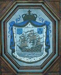 Ancien évêché, actuellement presbytère, mairie et hôtel de ville - Brezhoneg: Landreger. Ti-Kêr. Ardamezhioù ouzh lein ar skalier meur