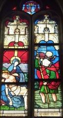 Eglise Saint-Hilaire - Français:   Clohars-Fouesnant: église paroissiale Saint-Hilaire, vitrail du XVIe siècle, Descente de Croix et saint Christophe