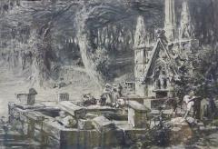 Fontaine et calvaire du Dreneck - Français:   Auguste Goy (1812-1875) : Le lavoir du Drennec (à Clohars-Fouesnant) (tableau de 1868, fusain et craie blanche sur papier, musée des Beaux-Arts de Quimper)