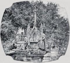 Fontaine et calvaire du Dreneck - Français:   Clohars-Fouesnant: la fontaine du Drennec avant 1903 (dessin de A.Karl)