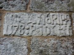 Chapelle de Saint-Cado ou Saint-Cadou - Français:   Gouesnach: chapelle  Saint-Cadou, inscription