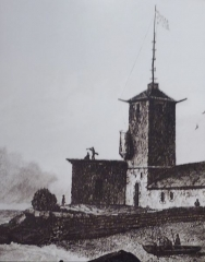 Tour et chapelle Saint-Pierre - Français:   L\'ancien phare d\'Eckmühl (gravure de la première moitié du XIXe siècle)