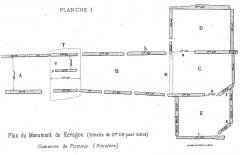 Allée de Kerugon et bande de terrain autour - Français:   Plomeur: plan du dolmen de Kerugou, dessiné par Paul du Chatellier qui l\'a fouillé en 1876