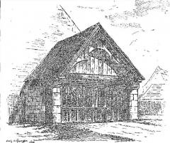Chapelle Saint-Antoine - Français:   Le porche de la chapelle saint-Antoine à Plouezoc\'h vers 1906 (dessin de Louis Le Guennec)
