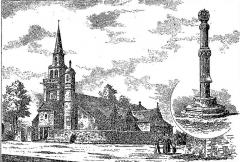 Eglise Saint-Etienne - Français:   L\'église de Ploezoc\'h et la croix hosannière du cimetière (dessin de Louis Le Guennec, 1906)