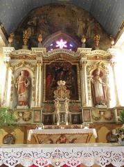 Eglise Saint-Etienne - Français:   Intérieur de l\'église Saint-Étienne de Plouezoc\'h (29). Maître-autel et son retable.