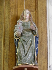 Eglise Saint-Demet - Français:   Église Saint-Demet de Plozévet (29). Statue de Sainte-Barbe.