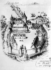 Hôtel de ville, dit aussi le Vieux Château, ou château des Barons du Pont -  Château de Pont-L'Abbé en 1400