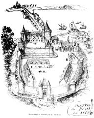 Hôtel de ville, dit aussi le Vieux Château, ou château des Barons du Pont - Français:   Reconstitition graphique du château de Pont-l\'Abbé vers 1400, éffectuée par Ducrest de Villeneuve en 1894 à partir des éléments restants à cette époque et de documents anciens.