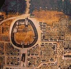 Hôtel de ville, dit aussi le Vieux Château, ou château des Barons du Pont - Français:   Pont-l\'Abbé à la fin du XVIIe siècle.