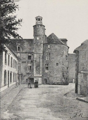Hôtel de ville, dit aussi le Vieux Château, ou château des Barons du Pont - Français:   Pont-l\'Abbé: le château avant 1903 (dessin de A. Karl)