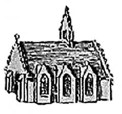 Hôtel de ville, dit aussi le Vieux Château, ou château des Barons du Pont - Français:   Pont-l\'Abbé: détourage de la chapelle castrale à partir du plan cavalier de Ducrest de Villeneuve (1894 domaine public) reconstituant le château au XVe siècle.