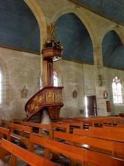 Chapelle Notre-Dame de Kergoat - Français:   Intérieur de la chapelle Notre-Dame-de-Kergoat en Quéménéven (29). Chaire.