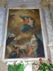 Chapelle Notre-Dame de Kergoat - Français:   Intérieur de la chapelle Notre-Dame-de-Kergoat en Quéménéven (29). Tableau de la donation du Rosaire (copie par Félix Barret d\'un tableau de François Valentin).