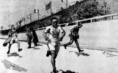 Manoir de la Haye -  Drawing of Johnny Hayes at the Olympic Games. Original caption: Johnny Hayes Winning the Olympic Marathon in London