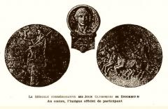 Manoir de la Haye - La médaille commémorative des JO de Stockhlom en 1912, et au centre l'insigne officiel de participant.