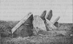 Allée couverte à dalles inclinées de Castel-Ruffel - Français:   Saint-Goazec: les restes de l\'allée couverte de Castel-Ruffel (Paul du Châtellier, Exploration des tumulus des Montagnes Noires (Finistère), \