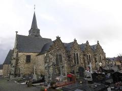 Eglise Saint-Léon - Français:   Flanc nord de l\'église Saint-Léon de La Baussaine (35).