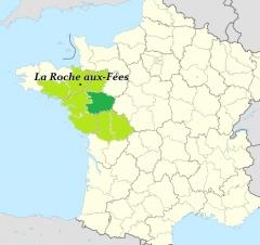Dolmen dit La Roche-aux-Fées - Català: Zona d'origen i distribució dels dòlmens angevins. Verd fosc assenyala concentració (possible focus d'irradiació).