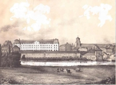 Ancienne abbaye Saint-Georges des Bénédictins, ou Palais Saint-Georges - English: Palace of St.George and remains of the old abbey of St.Georges, Rennes 1840s