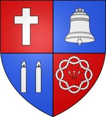 Basilique Saint-Sauveur - Français:   Blason de la basilique Saint-Sauveur de Rennes (Ille-et-Vilaine, Bretagne, France).