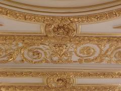 Palais de Justice - Moulures du plafond à caissons de la salle des assises du Parlement de Bretagne à Rennes (35).