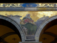 Eglise Sainte-Croix - Église Sainte-Croix de Saint-Servan, commune de Saint-Malo (35)  Fresques peintes par Louis Duveau (Saint-Malo 1818 - Paris 1867) du 13 juin 1854 au 21 mai 1855. Sainte-Monique.