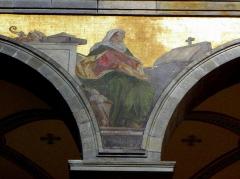 Eglise Sainte-Croix - Français:   Église Sainte-Croix de Saint-Servan, commune de Saint-Malo (35)  Fresques peintes par Louis Duveau (Saint-Malo 1818 - Paris 1867) du 13 juin 1854 au 21 mai 1855. Sainte-Monique.