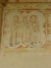 Ancienne abbaye Saint-Méen - Peintures murales de la chapelle Saint-Vincent de l'Abbatiale Saint-Méen de Saint-Méen-le-Grand (35). Costale nord. 2ème travée. Saint-Méen de retour d'un pèlerinage à Rome.