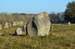 Alignement et dolmen de Kerlescan - Français:   Menhirs de l\'alignement de mégalithes de Kerlescan, à Carnac (Morbihan, Bretagne, France)