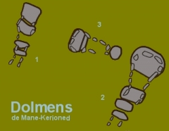 Tumulus à trois dolmens de Mané-Kérioned -  Plan du site