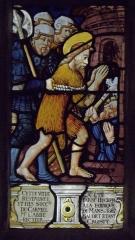 Eglise Saint-Jean-Baptiste - Français:   Maîtresse-vitre de l\'église Saint-Jean-Baptiste de Le Croisty (56). Détail. Emprisonnement de Saint-Jean-Baptiste.