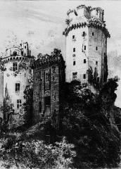 Ancienne forteresse ou ancien château de Largouët - La Tour d'Elven (litographie d'Albert Robida parue dans