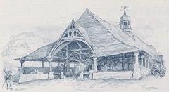Vieilles halles - Français:   Les Halles du Faouët en 1891 (dessin d\'Albert Robida)