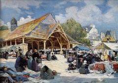 Vieilles halles - Français:   Henri Barnoin: Le marché du Faouët (1926, musée du Faouët)