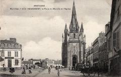 Eglise Notre-Dame-de-Paradis et ses abords - Français:   La place du marché et l\'église à Hennebont vers 1900