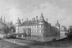 Allée couverte coudée de Mané-er-Loh, dite Mané-Bras - Deutsch: Zeichnung des Schlosses Tanlay, Ostansicht