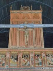 Chapelle Saint-Nicolas - Français:   Élévation ouest du jubé de la chapelle Saint-Nicolas de Priziac (56). Dais et Christ en Croix.