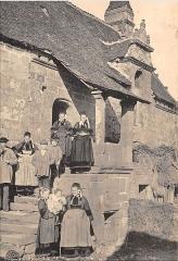 Manoir du 16e siècle - Français:   Carte postale du premier quart du XXe siècle. Ancien auditoire de Priziac.