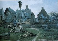 Calvaire situé sur la place de l'église Notre-Dame-de-La-Tronchaye -
