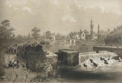 Chapelle Notre-Dame-de-Bonne-Encontre à Saint-Samson - Français:   Le canal de Nantes à Brest à Rohan (Morbihan); dessin de Félix Benoist, 1865