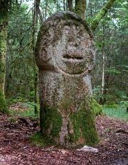 Deux menhirs taillés, dits Babouin et Babouine - Français:   Le menhir sculpté dit «Le Babouin» près de Trédion dans le Morbihan - Juillet 2014 Probablement l\'un des menhirs les plus surprenants de Bretagne: sculptés et anthropomorphes, avec son visage étrange et enfantin, c\'est vraiment un cas unique!