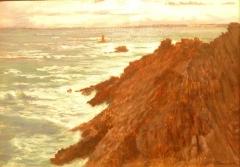 Ancienne cohue - Français:   Joseph-Félix Bouchor: La Pointe du Raz par gros temps (huile sur toile, musée des beaux-arts de Vannes)