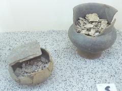 Ancien hôtel du Parlement de Bretagne, dit Château-Gaillard - Français:   Deux urnes cinéraires contenant les ossements d\'un défunt, la plus petite étant couverte d\'une plaque de schiste (Nécropole protohistorique Boquidet à Sérent, Musée d\'histoire et d\'archéologie de Vannes)