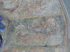 Eglise Notre-Dame - Fresque du croisillon sud de l'église Notre-Dame d'Aigueperse (63). Cycle de la vie du Christ. Nativité.