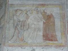 Eglise Notre-Dame - Fresque du croisillon sud de l'église Notre-Dame d'Aigueperse (63). Cycle de la vie du Christ. Baptême du Christ.