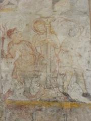 Eglise Notre-Dame - Fresque du croisillon sud de l'église Notre-Dame d'Aigueperse (63). Cycle de la vie du Christ. Flagellation.