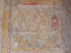 Eglise Notre-Dame - Fresque du croisillon sud de l'église Notre-Dame d'Aigueperse (63). Cycle de la vie du Christ. Apparition de l'ange de la Résurrection aux saintes femmes.