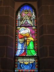 Chapelle Notre-Dame de Vassivière - English: Stained glass window about Visitation in the chapel of Notre-Dame de Vassivière (Puy-de-Dôme, France).